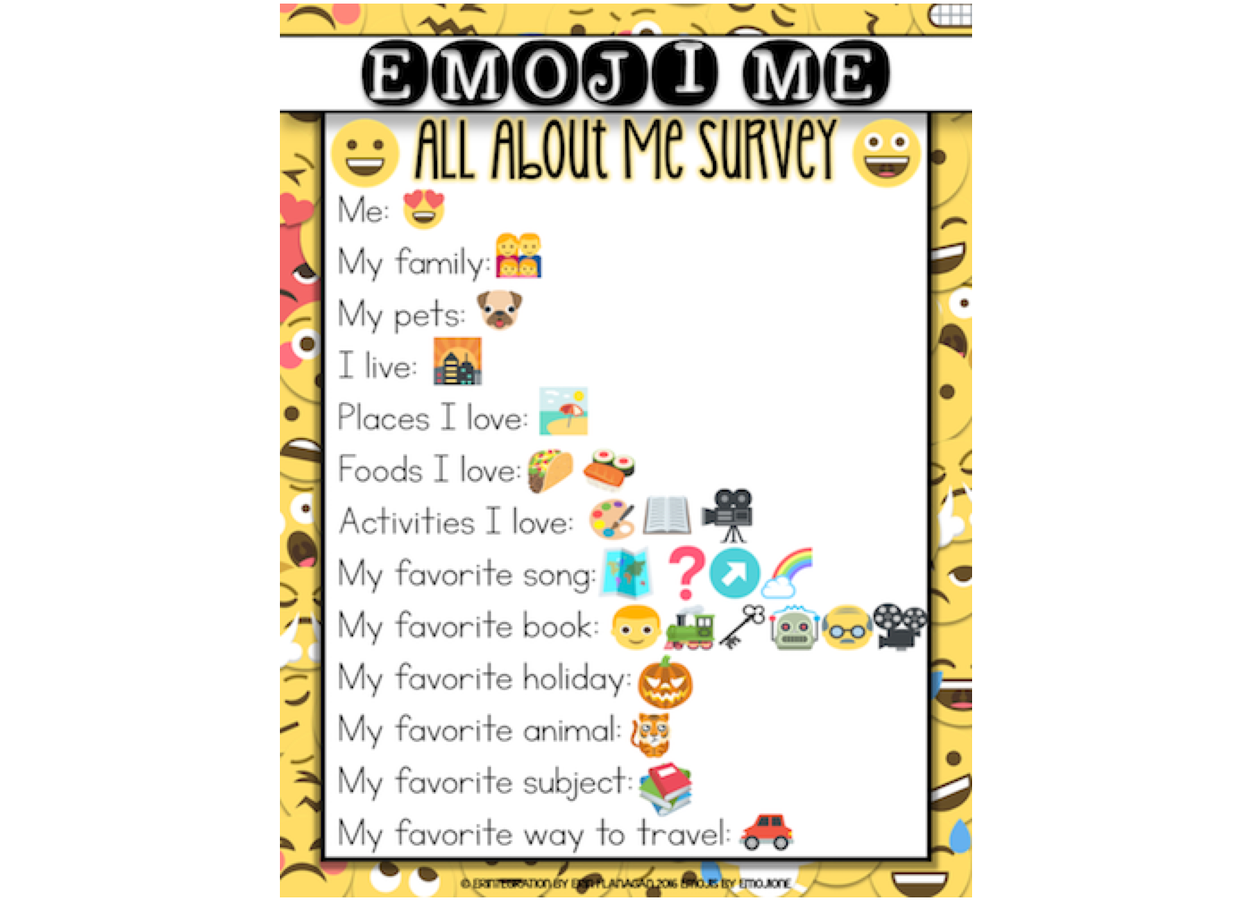 Emoji and child development emojione blog you use your ipad interactive all about me emoji surveys with your students we thought it would be fun if you filled out one for us buycottarizona Image collections